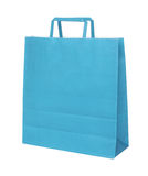 Blue papper shopping bag isolated over white royalty free stock photo
