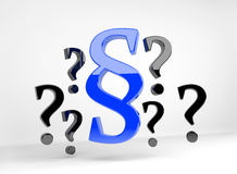 Blue paragraph surrounded by question marks Royalty Free Stock Photography