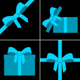 Blue parcel collection with ribbon Royalty Free Stock Images