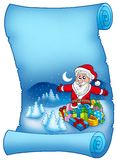 Blue parchment with Santa Claus 6 Royalty Free Stock Photography