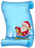 Blue parchment with Santa on sledge. Color illustration Royalty Free Stock Photos
