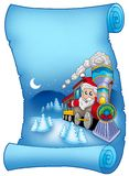 Blue parchment with Santa in train Royalty Free Stock Photography