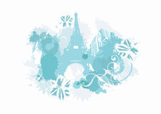 Blue Paris. Illustration of the Eiffel tower and decorative patterns Royalty Free Stock Images
