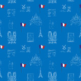 Blue Paris vector seamless pattern hand-drawn landmarks illustration background Stock Photos