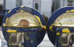 Blue Parking Meter Royalty Free Stock Images