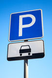 Blue parking road sign on blue sky background Stock Photo