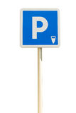 Blue Parking sign isolated on a white background Stock Photo