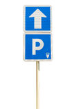 Blue Parking sign isolated on a white background Stock Photos