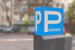 Blue parking sign with letter P isolated symbol with parking. Background stock photo