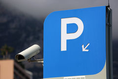 Blue Parking Sign in Monaco Stock Images