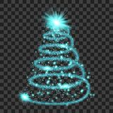 Blue particle wave in form of christmas tree. With bright shining and glowind particles  on transparent background. Glitter bright trail, glowing wave vector Royalty Free Stock Photos