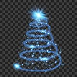 Blue particle wave in form of christmas tree. With bright shining and glowind particles isolated on transparent background. Glitter bright trail, glowing wave stock illustration