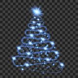 Blue particle wave in form of christmas tree. With bright shining and glowind particles isolated on transparent background. Glitter bright trail, glowing wave vector illustration