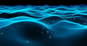 Blue particle wave with small particle. Abstract background Stock Photos