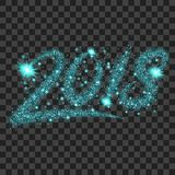 Blue particles wave in form of 2018 digits. With bright shining and glowind particles  on transparent background. Glitter bright trail, glowing wave vector Stock Photography