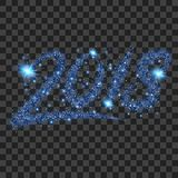 Blue particles wave in form of 2018 digits. With bright shining and glowind particles isolated on transparent background. Glitter bright trail, glowing wave Stock Image