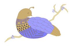 Blue Partridge. Stylized blue partridge sitting on a branch Royalty Free Stock Image