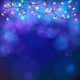 Blue party background with garland and bokeh Royalty Free Stock Image
