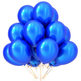 Blue party balloons happy birthday carnival decoration cyan. Glossy. Holiday anniversary celebrate new year`s eve christmas marriage wedding greeting card Stock Photography