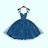 Blue party dress. Vector illustration Stock Image