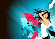 Blue Party Girl stock illustration