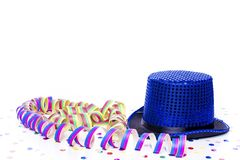 Blue party hat. With colorful confetti Stock Image