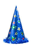 Blue party hat. Shiny party hat on white background stock images