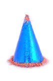 Blue party hat. On the white background stock image