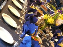 Blue party table. Perspective view of party table stock images