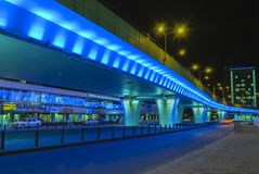 Blue bridge, lighted in the night Royalty Free Stock Images