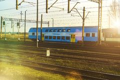 The blue passenger double-decker train. Royalty Free Stock Image