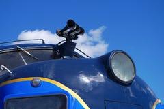 Blue passenger locomotive train transport engine railway station vehicle. Train locomotive blue passenger vehicle railway engine transport travel machine stock images