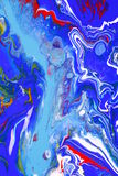 Blue Passion. An abstract painting in blue with streaks of white and red forming a turmoil Stock Photo