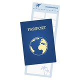 Blue passport and airline ticket Royalty Free Stock Images