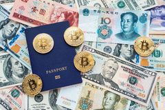 Blue passport on the background, proof of identity. Against paper money, US dollars, Chinese yuan CNY, metal coins. Blue passport on background, proof of Royalty Free Stock Images