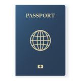 Blue passport isolated on white. International identification document for travel. Vector illustration. Royalty Free Stock Photography