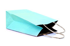 Blue paste paper bag on white background Stock Images