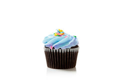 Blue Pastel chocolate cupcake on white Stock Image