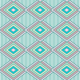 Blue pastel colored rhombus and white stripes seamless geometric vector pattern Stock Image