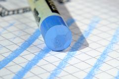 Blue pastel and finishing touches. On paper close up Selective focus stock photos