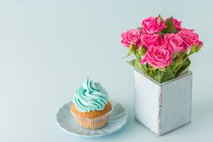 Blue pastel horizontal banner with top view of decorated with blue cream cupcake and pink roses in retro shabby chic vase. Beautiful sweets for congratulation Stock Image