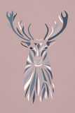 Blue pastel silhouette face of deer on pink background. Stencil Stock Images