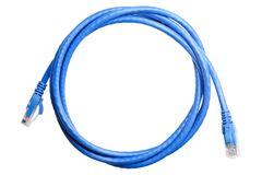 Blue patch cord isolated. Blue patch cord for ethernet isolated on white Stock Photography