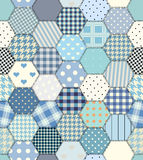 Blue patchwork hexagon. Stitched quilt seamless pattern in vector Royalty Free Stock Image