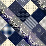 Blue patchwork with lace. Royalty Free Stock Photography