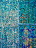 Blue patchwork rug Stock Images