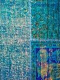 Blue patchwork rug Stock Images