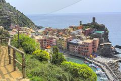 Blue path - Cinque Terre Vernazza.  royalty free stock photo