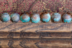 Blue patina upholstery old copper nails studs Royalty Free Stock Photography