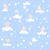 Blue pattern with angels, clouds and bubbles. This pattern can be extended infinitely in all directions. Funny little angels are in blue air space on clouds Royalty Free Stock Photos
